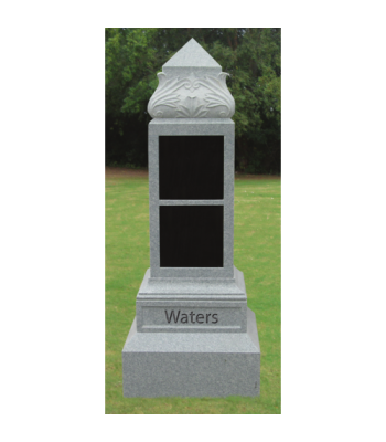 Leaf Top Obelisk Cremation Memorial - Two Niche CREM-208-S
